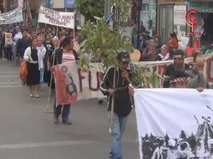 Comuneros Mapuche marcharon en Cañete pidiendo desmilitarización y reivindicaciones de territorios ancestrales