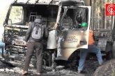 Dos camiones y una grúa fueron quemados por encapuchados en Curanilahue.