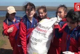 Más de 250 estudiantes de Cañete limpiaron borde costero en zona de Lloncao.