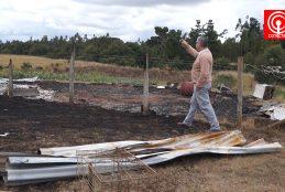 Nuevo atentado incendiario destruye 1 casa y 3 galpones en localidad de San Miguel en Cañete.