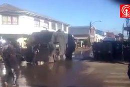 Manifestación Mapuche terminó con detenidos, destrozos a móviles e inmuebles en Cañete.