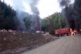 Encapuchados roban explosivos y queman 7 maquinarias en Tirúa